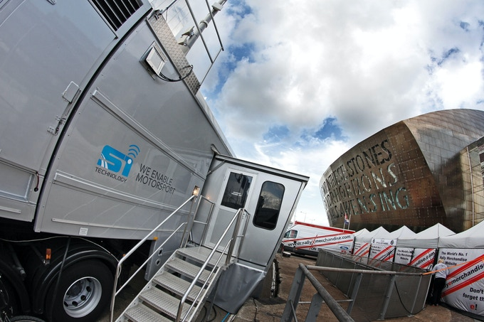 """Our """"Tech Control Vehicle"""" (TCV) Outside the Beautiful Millenium Centre, Cardiff"""