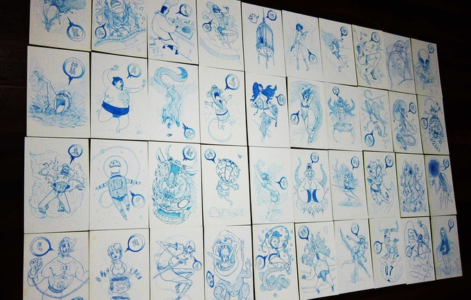 Some of the 60 Blue Pencil Illustrations