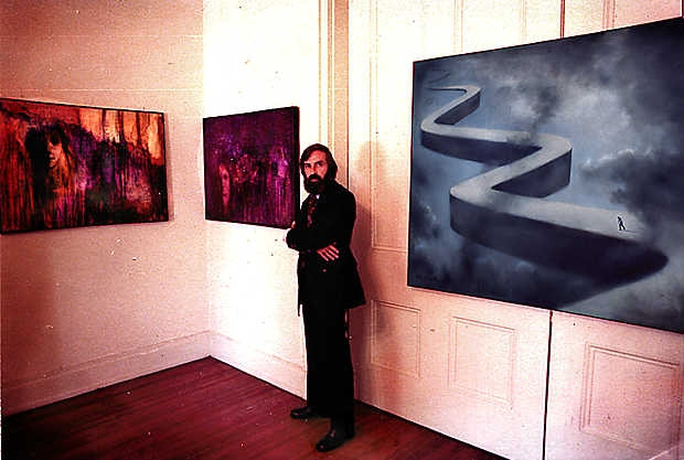 My father, Will LaBelle, with some of his art.