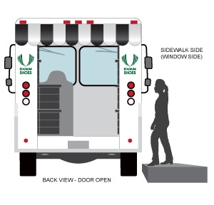 Back view illustration of a mobile shoe store with the door open.