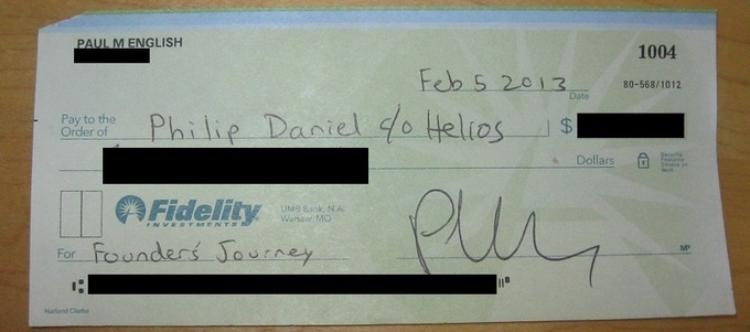 Here is the check, censored of course. This counts as VC funding in my book...
