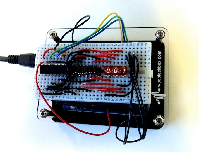 """Arduino UNO housed inside Space Station """"Original UNO"""" enclosure with Breadboard stuck on top."""