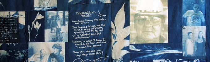 Cyanotype quilt by Exposures participants