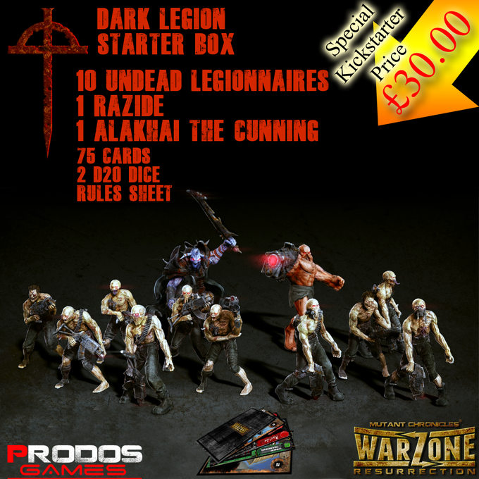 The Legion Starter Set. (The basic troops are 28mm, the Razide a massive 55mm and Alakhai (the hero) 37mm)