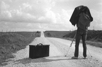 Postcard image of George Tice on the road in Illinois, 1983, by Karon Shaub