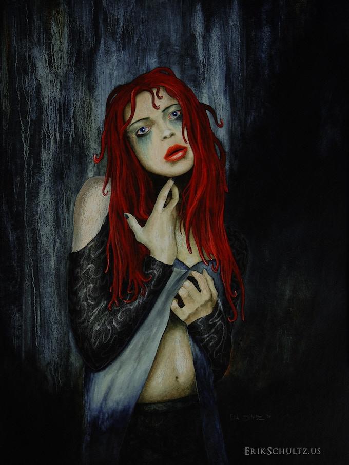 "HUNGER original painting (oils, acrylics, pencils); 15""x20"""