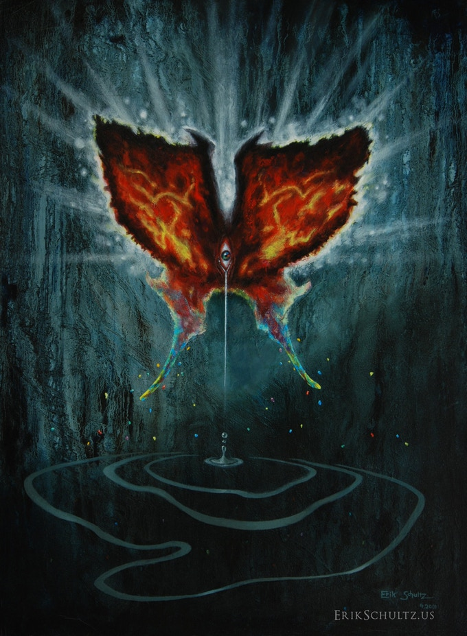 """UNTITLED (butterfly) oil painting; 22""""x30"""""""