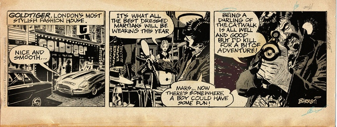 Original art from the very first Goldtiger strip.