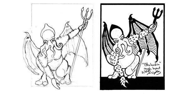 """Cthulandia"" rough sketch and preliminary layout, by Liv Rainey-Smith."