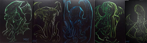 Black Velvet Cthulhu style original drawings by Mike Dubisch.