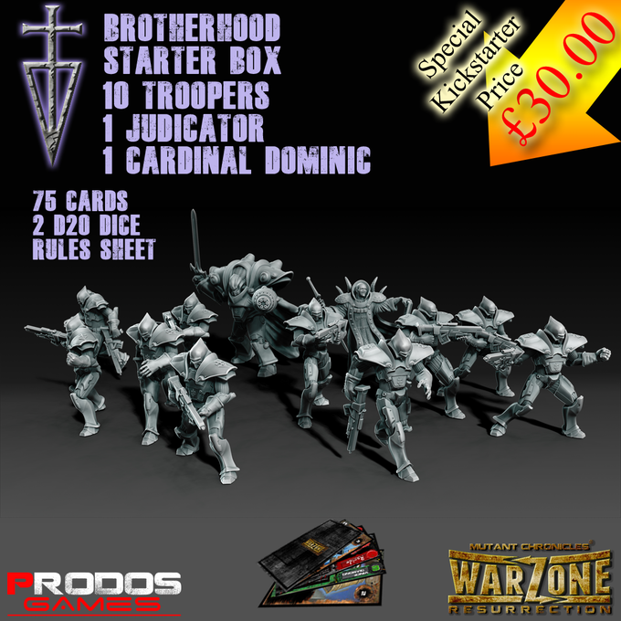 The Brotherhood. (The basic troops and Cardinal (hero) are 28mm, The Judicator is 54mm))