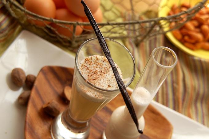 Classic raw eggnog with almond milk, cardamom, nutmeg and vanilla