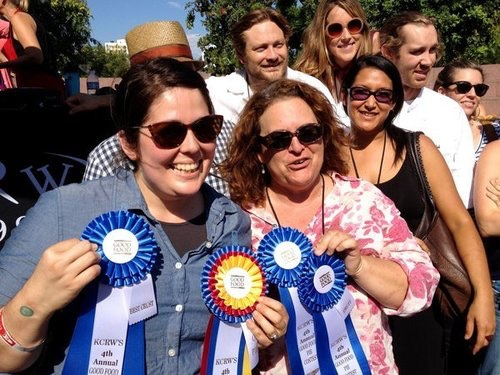 Nicole with Evan Kleinman from KCRW at the Good Food Pie Contest 2012