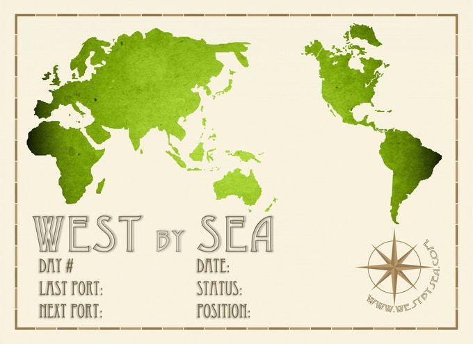 The West by Sea postcard: front side