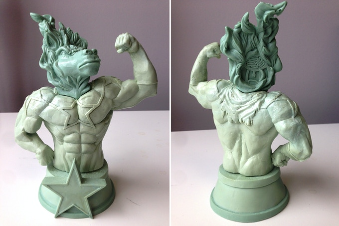 Test casting for the God Hates Astronauts Resin Statue. Final will feature a translucent blue ghost head as seen below and will have fewer bubbles and imperfections than shown. Signed by the sculptor and numbered edition of 50!