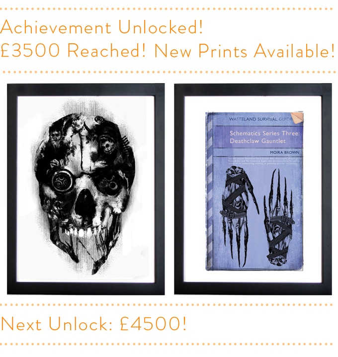 From left - Corvo's Mask - Schematics Series Three Deathclaw Gauntlet