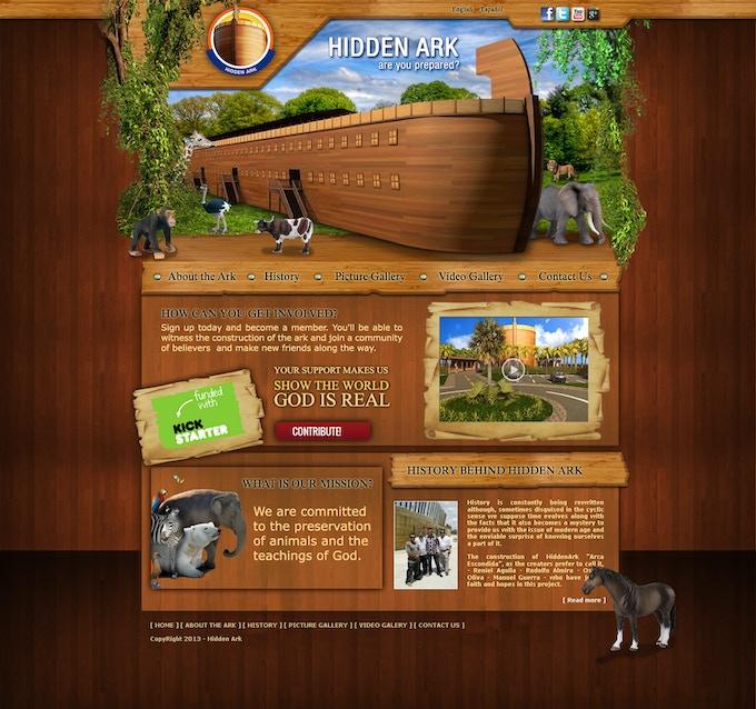 Our homepage Hidden Ark