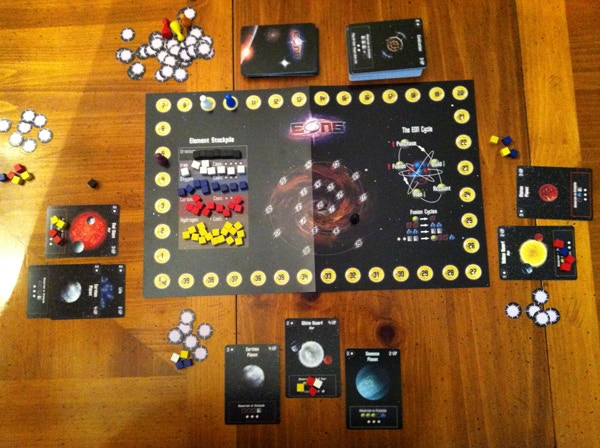 An alpha prototype of EONS, this is not final artwork!  Just gives a sense of the look for the game and how the board set up with three players.