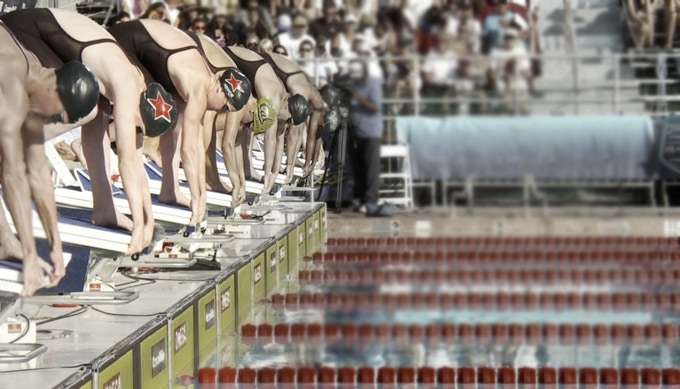 on the blocks for the 100m free finals, Conoco Phillips National Championships 2011