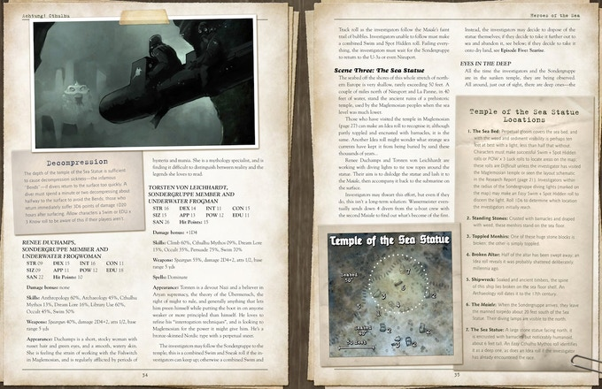 Sample Layout from Achtung! Cthulhu - Zero Point - Heroes of the Sea
