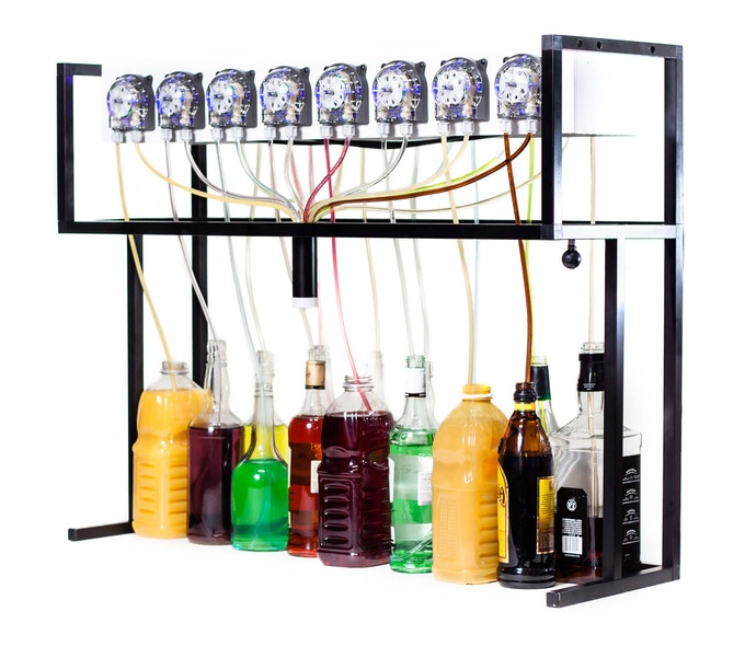 Bartendro 15 comes with 15 dispensers, a router board, Raspberry Pi with USB WiFi dongle, power supply and frame. Tablet and mount not included. Some light assembly may be required.