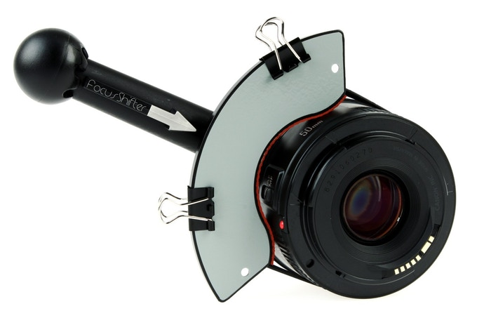 FocusShifter on Canon 50mm f1.8 lens with Marker Board and Hard Stop Clips
