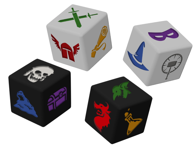 DICE RENDERING ONLY - The dice in Dungeon Roll will be a compression molded plastic with painted debossed faces