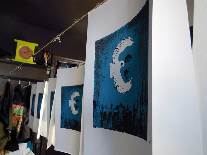 Silk screens of Robinson Smith's design drying in the composer's office