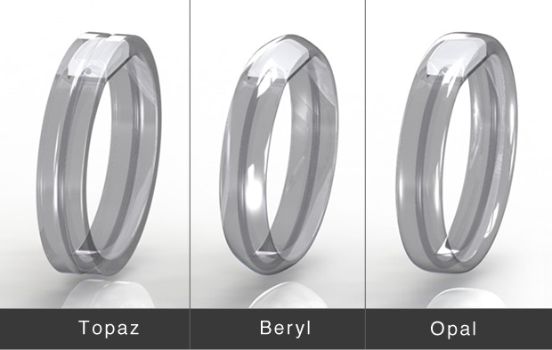 All three final designs have the same dimensions - 8mm thick at top, 5.4mm thick at the bottom and 12mm wide.