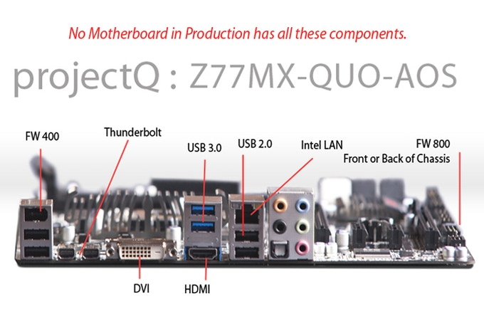 """the QUO Z77MX All OS motherboard includes an impressive array of ports"" as per Jason D. O'Grady of ZDnet"
