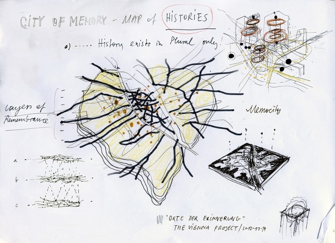 Conceptual sketch by Nikolaus Gansterer for the design of Mapping 1938 Vienna