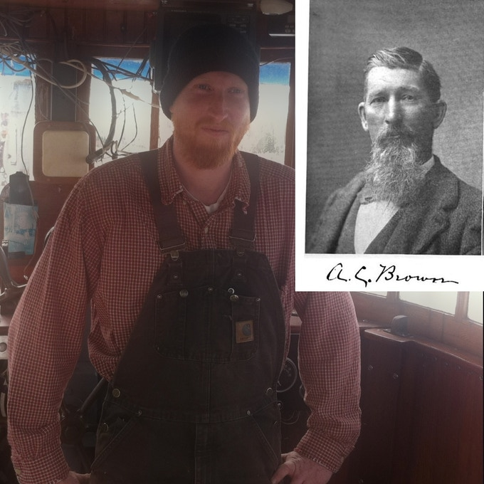 Laurel's deck beams will be replaced by Maine-shipwright Captain Robert Blood (yes, that's really his name). Inset is a photo of A.C. Brown, master carpenter and builder of Laurel.