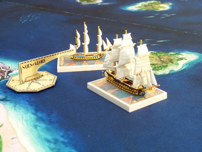 The HMS Cleopatra is ready for raking fire against a French ship-of-the-line.