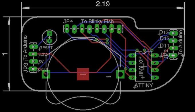 Layout of Attiny board