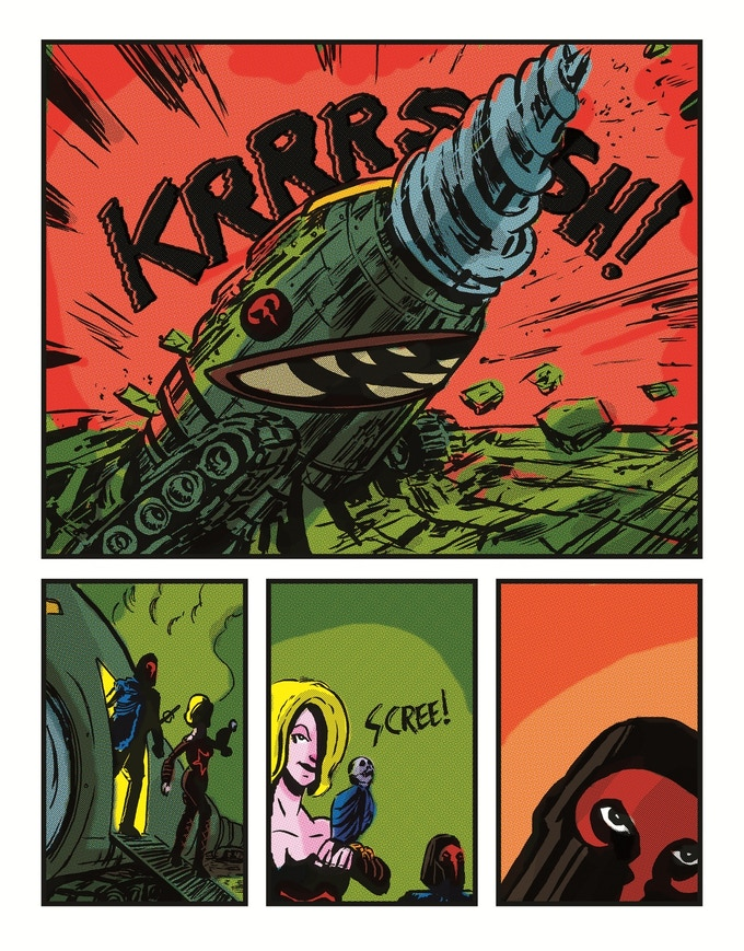 A page from LITERARY COMMANDOS featuring Poe's CONQUEROR WORM!