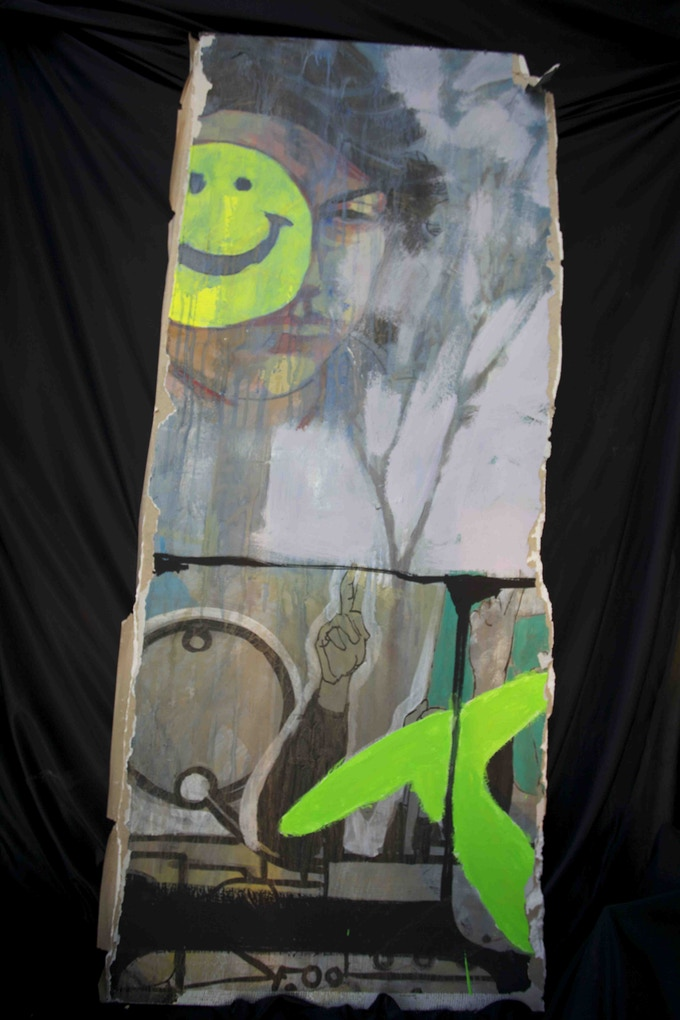 5 ft by 2.5 ft piece of a graffiti wall painted by Ammar Abo Bakr.