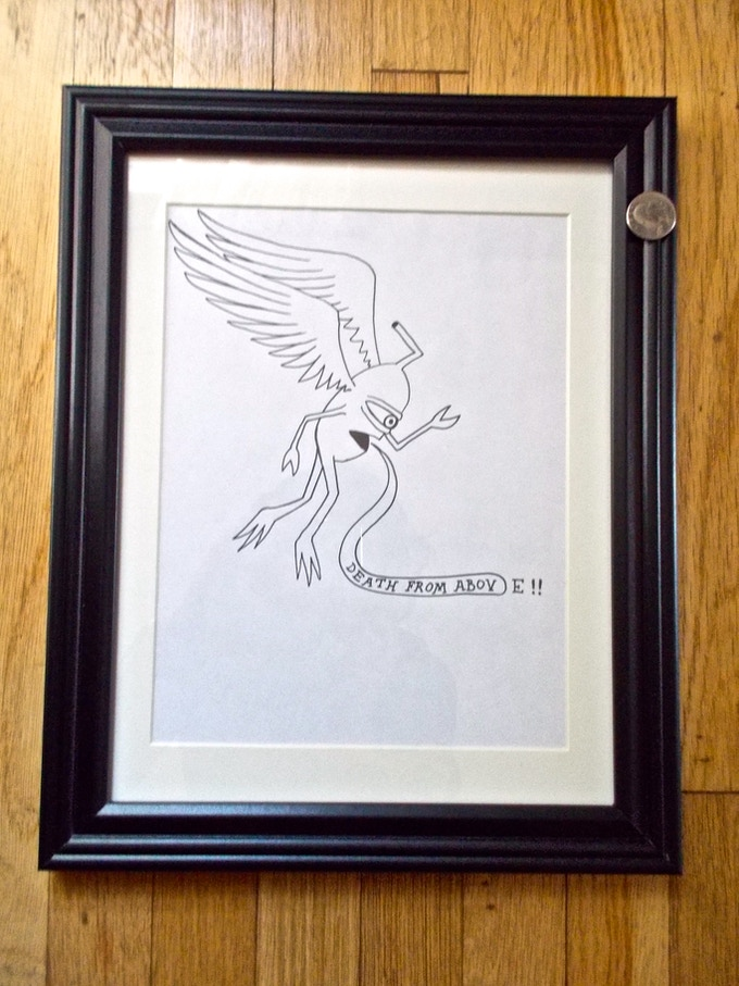 SOLD! Death From Above Winged Sect (#3) -$300   Original signed Ed Templeton drawing used in Toy Machine Production. SOLD!