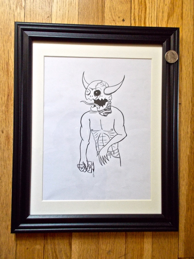 (SOLD) Monster (#6) -$300   Original signed Ed Templeton drawing used in Toy Machine Production.