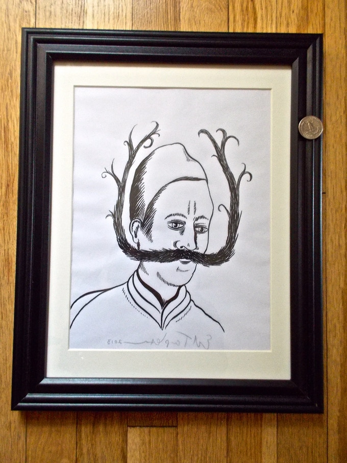 (SOLD) Moustache Man (#8) -$350 Man with fancy mustache is on tracing paper and an original pen and ink signed by Ed Templeton.