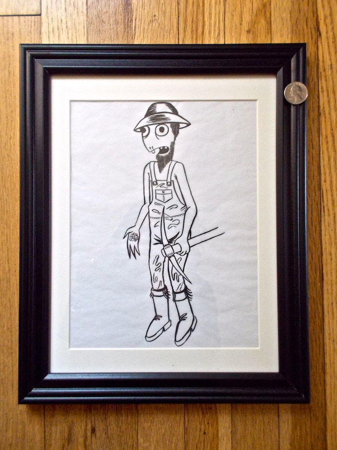 Turtle Boy Hick (#11) -$350 Ed Templeton 'Turtle Boy HIck', signed original drawing on tracing paper. Used in Toy Machine production.
