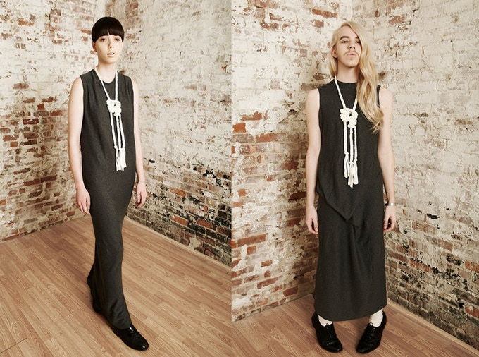 Long, grey, revesible jersey dress.