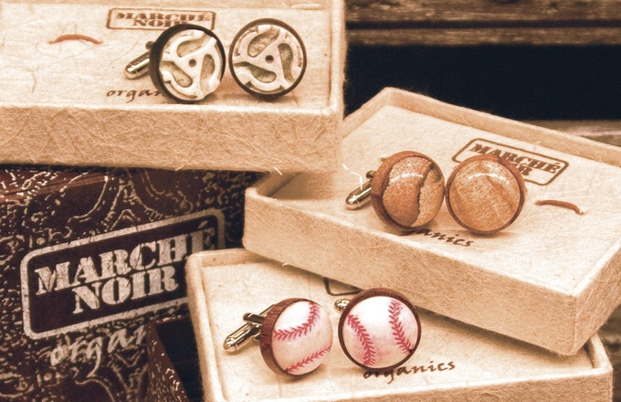 Marche Noir Cufflinks and Designer Boxes Made from Recycled Materials.