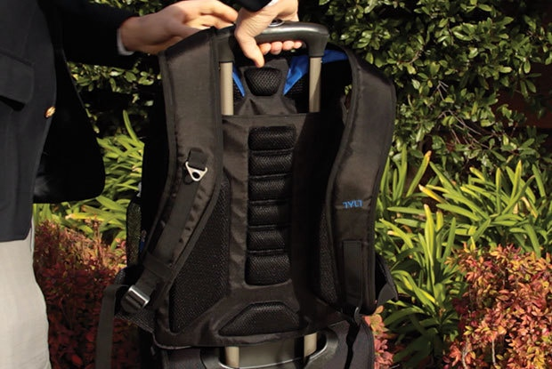 Trolley Slot allows you to slide bag over your roller bag handle