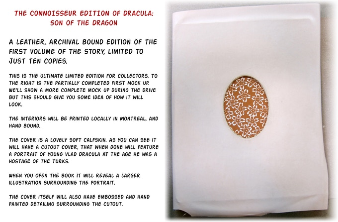 The very limited, collectible leather bound edition of Dracula: Son of the Dragon, by No Bar Code Press.