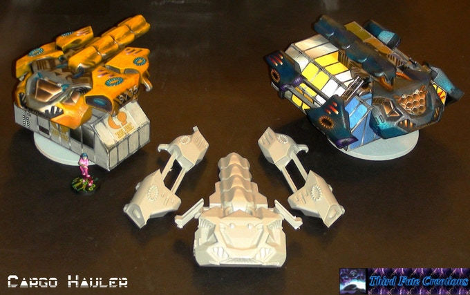 Cargo Hauler Hover: Comes with deployed nacelles.  Closing requires cutting and gluing. Cargo modules are by Tommygun (free on the net)  I will include a custom file with more futuristic looking cargo modules.