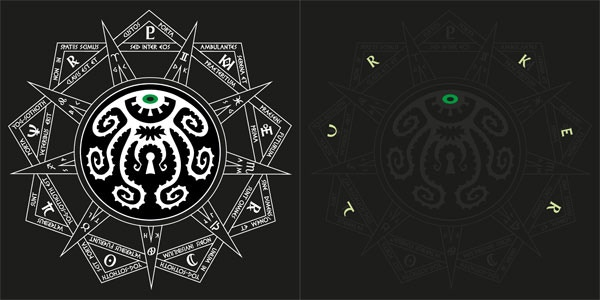 "Left: The Squidgate Seal.      Right: hidden glow in the dark overprint spells ""LURKER"" to identify you as one of the chosen."