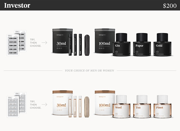 You get the Kickstarter Kit (10 mini samples, men's or women's). — Once you find what you love, we'll send you the 30ml Set (3 Rollers of your choice and a carrying case) + 3 large 100ml Bottles of your choice. ($245 value)