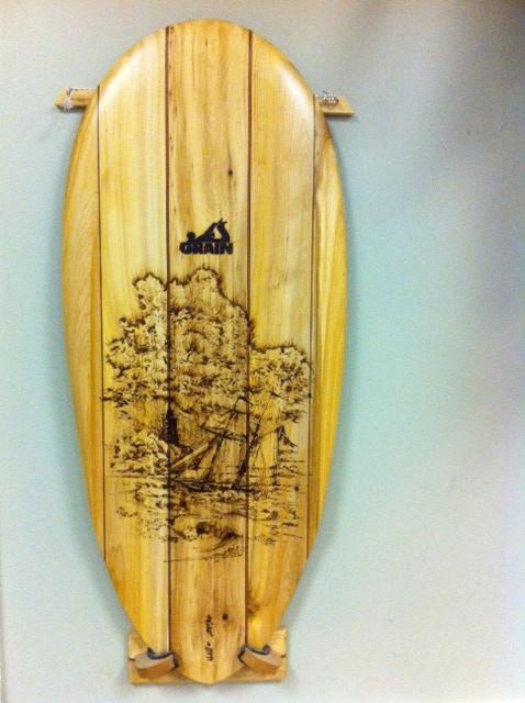 One-of-a-kind Mini Sea Sled with wood burned art by Randy Gaetano