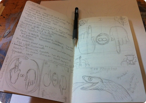 journal full of initial ideas