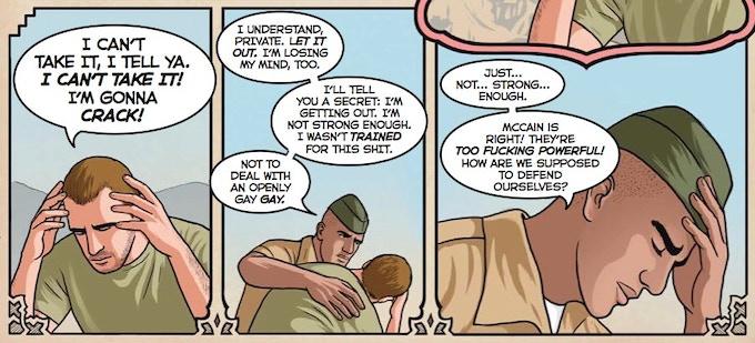 "A scene from Dave Zelman's ""Al Qaeda's Super Secret Weapon"". Your mind will be blown!"